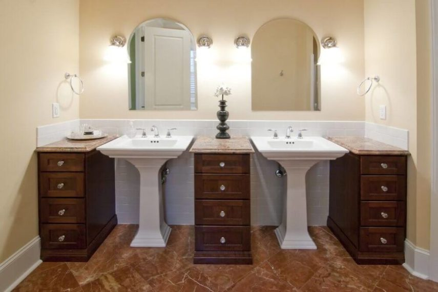 20 Captivating Bathrooms with Square Sinks  GREAT PHOTOS  These lovely white pedestal sinks are broken up by the installation of  gorgeous wood drawers
