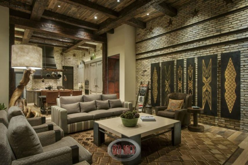 32 Spectacular Living Room Designs with Exposed Beams  PICTURES  This deeply rustic living room sandwiches modern furniture between light  brick walls  The double height
