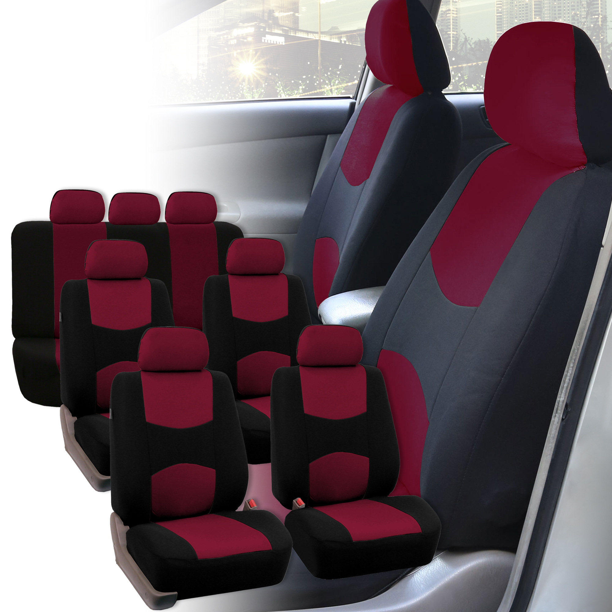 Car Seat Covers 3 Row For Auto Suv Van 7 Seaters Burgundy