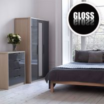 Bedroom Furniture Champagne Avola With Grey Gloss Bedroom Furniture