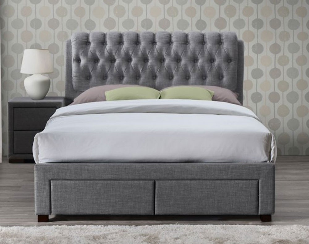 Valencia Grey Fabric Double 2 Drawer Bed Frame Double