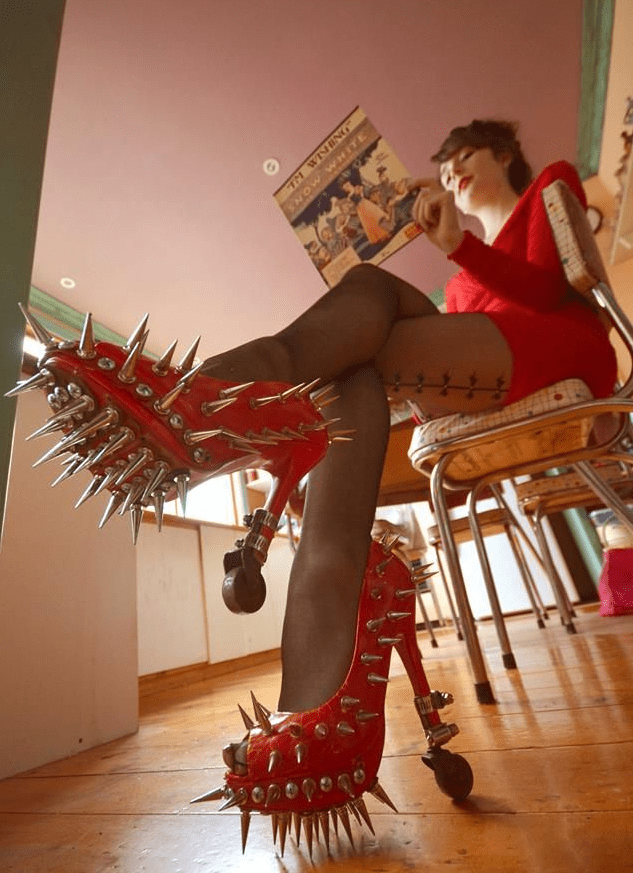 Red High Heels Shoes With Spikes Fashion Fail Funny Faxo