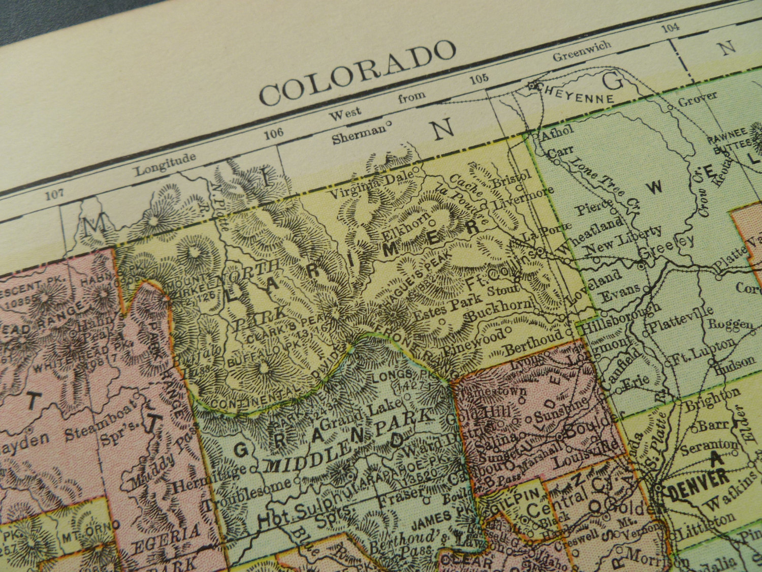 137 year old map of Colorado state 1877 antique print about the     Il fullxfull 468166433 s519 original