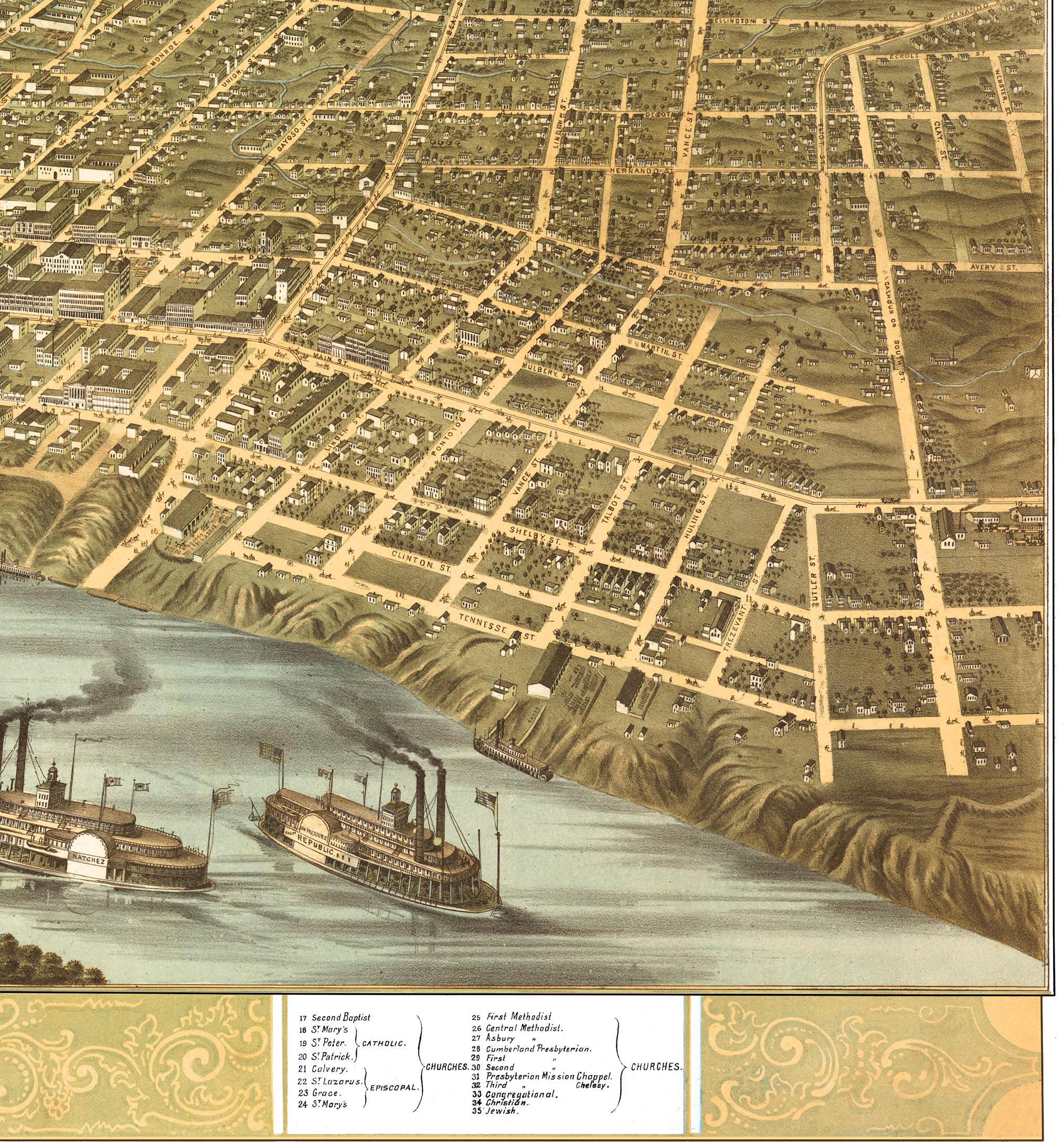 Memphis  Tennessee in 1870   Bird s Eye View  Map  Aerial  Panorama         Memphis  Tennessee in 1870   Bird s Eye View  Map  Aerial  Panorama
