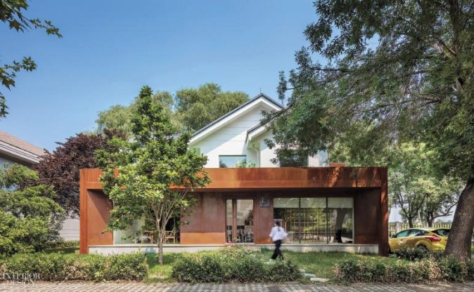 Cun Design Excavates Raw Materials for Beijing House Conversion It occupies a 1990 s house  now renovated and expanded with an addition in  weathering steel  Photography by Wang Jin and Wang Ting