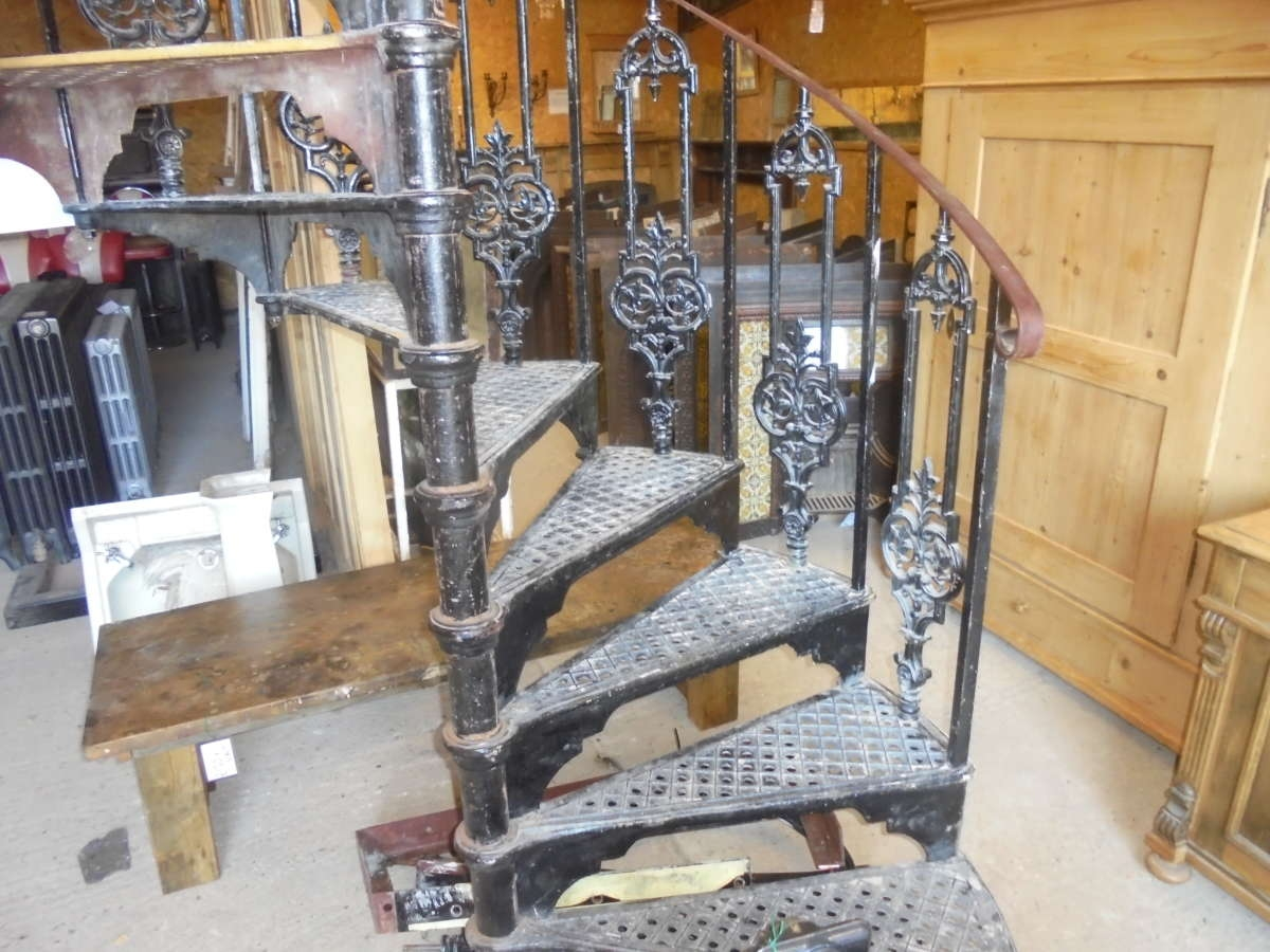 Reclaimed Cast Iron Spiral Staircase Authentic Reclamation   Reclaimed Spiral Staircase For Sale   Architectural Antiques   Wrought Iron Spiral   Architectural Salvage   Reclaimed Antique   Railing
