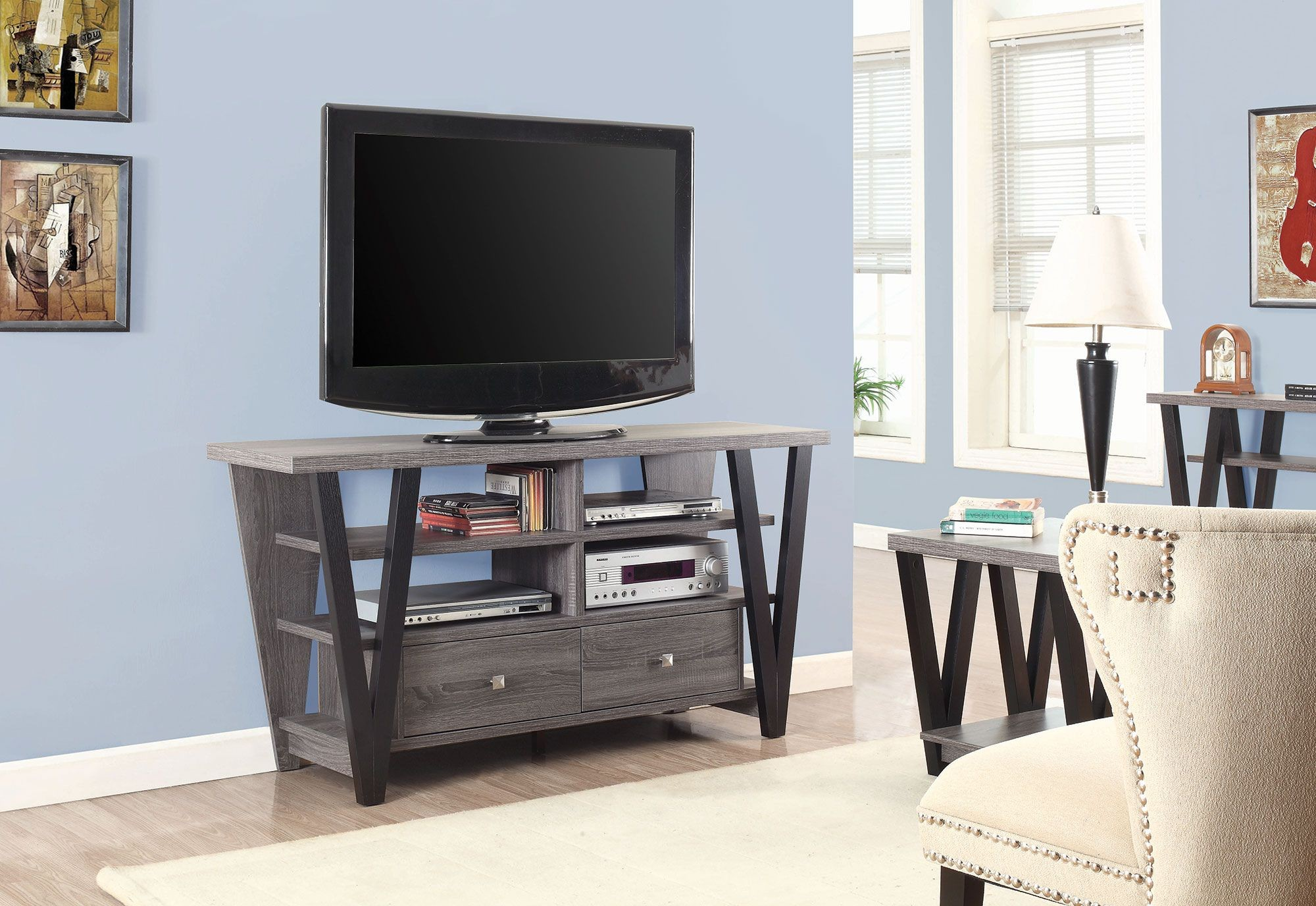 Distressed Grey And Black Tv Console From Coaster