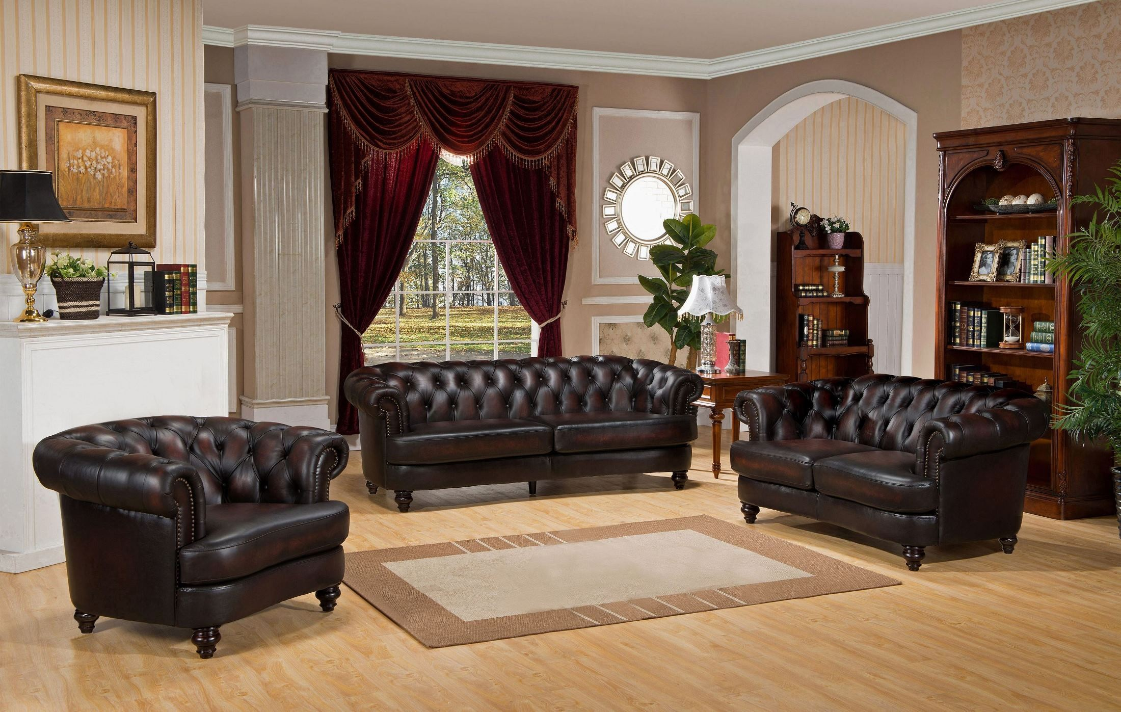 Brown Leather Sofa And Loveseat Set