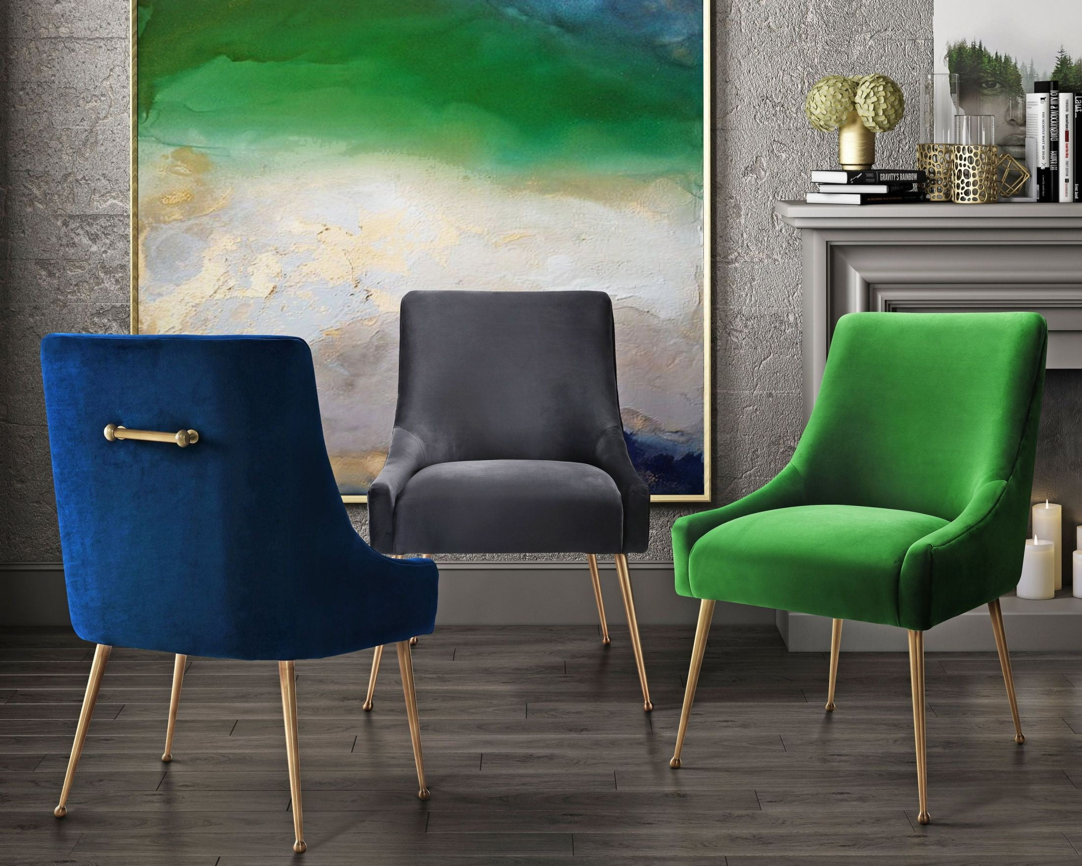 Blue Accent Velvet Navy Chair