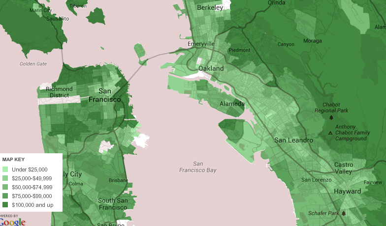 HOLC maps   Musings on Maps Oakland Household Income Mean