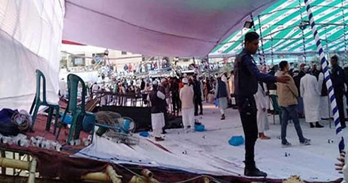 হেফাজতের সমাবেশমঞ্চ ভাঙল হুড়োহুড়িতে