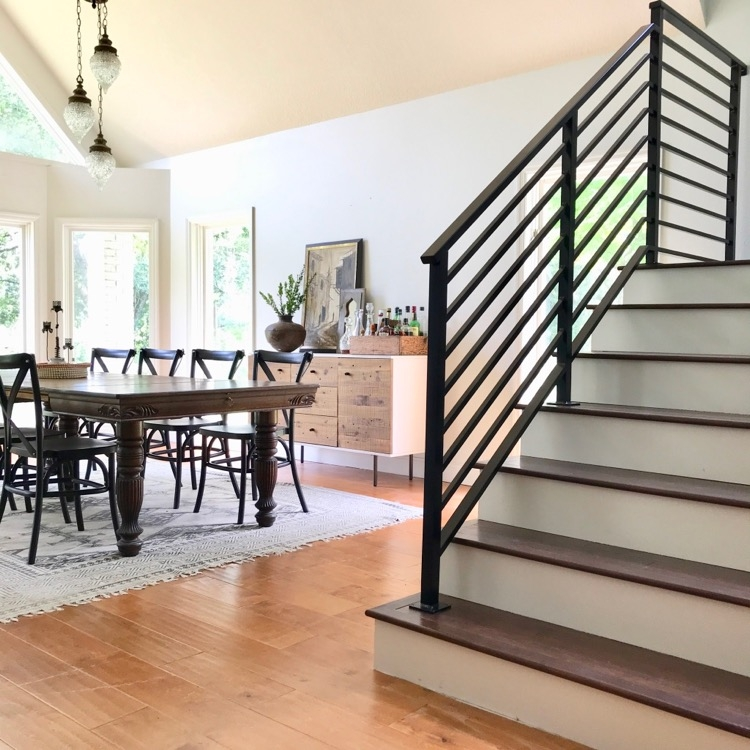 Our Finished Staircase With Horizontal Stair Railing Daly Digs   Pre Made Stair Railings   Porch   Pressure Treated   Stair Treads   Aluminum Railing   Stair Stringers