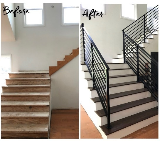 Our Finished Staircase With Horizontal Stair Railing Daly Digs | Black Steel Stair Railing | Custom | Wood | Residential Indoor Residential Glass | Stainless Steel | Concrete