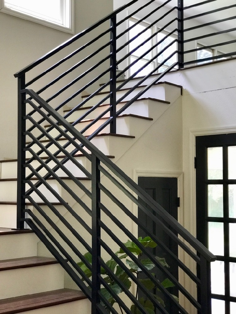 Our Finished Staircase With Horizontal Stair Railing | Black Metal Spindles For Staircase