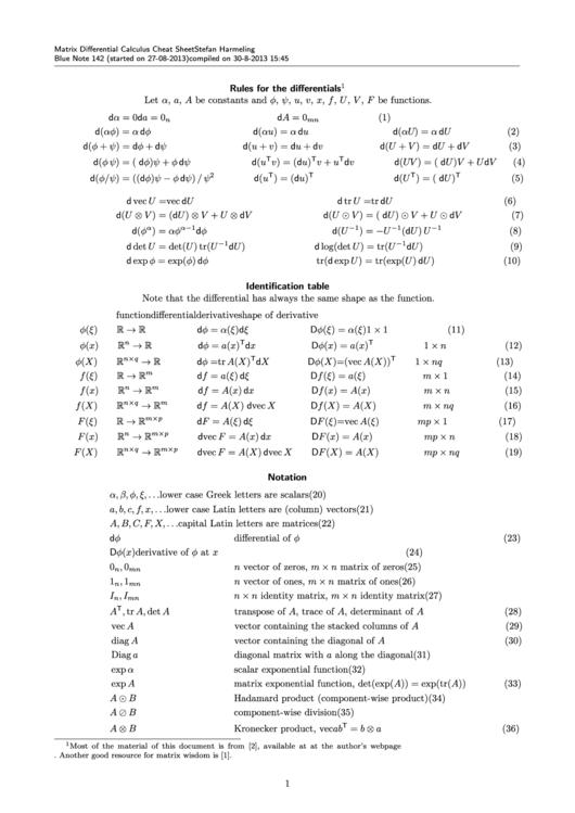 Matrix Differential Calculus Cheat Sheet Printable Pdf