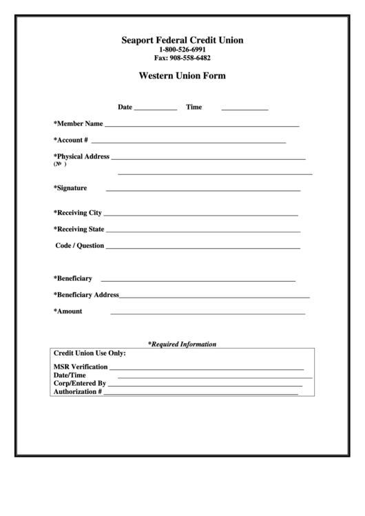 Form Order Money Union Send Western