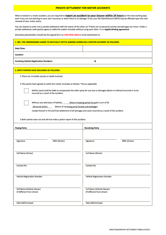 Private Settlement For Motor Accidents Printable Pdf Download