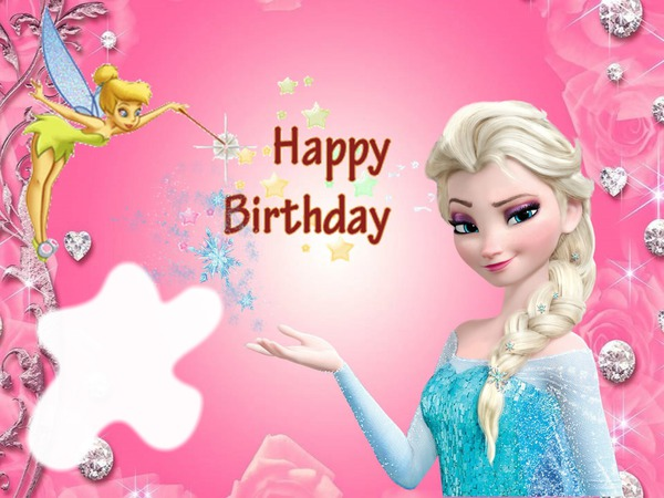 Photo Montage Happy Birthday With Tinkerbell Amp Elsa From