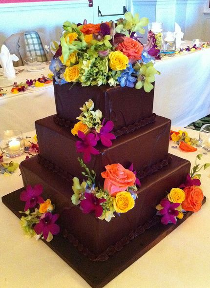 3 Tier Chocolate Square Wedding Cake With Colorful Fresh