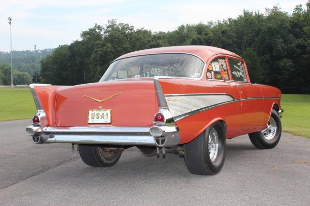 57 Chevy Vintage Drag Car Gasser Super Chevy Feature