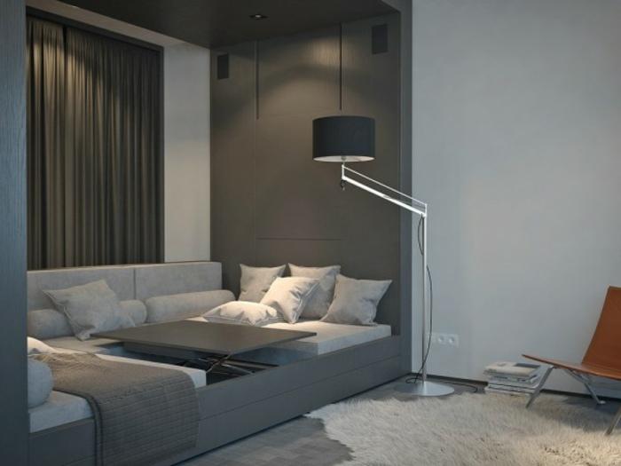 Ein Zimmer Wohnung Mit Minimalistischer Einrichtung