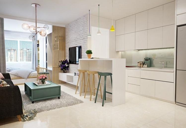 Bett im Wohnzimmer integrieren - 3 Einraumwohnungen als Inspiration