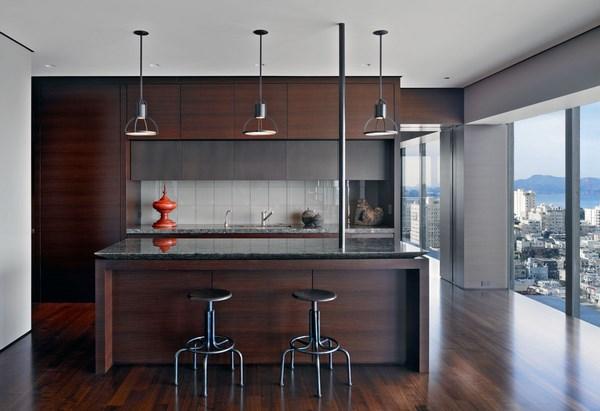 Dark Wood Kitchen Cabinets And Wood Flooring