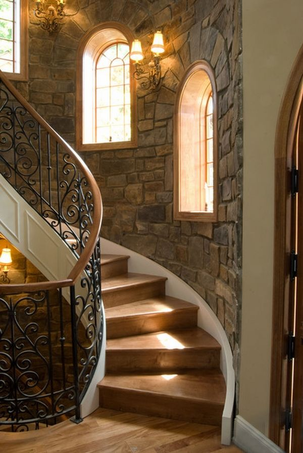 Interior stone wall ideas     design styles and types of stone interior stone mediterranean style staircase Interior stone wall ideas      design