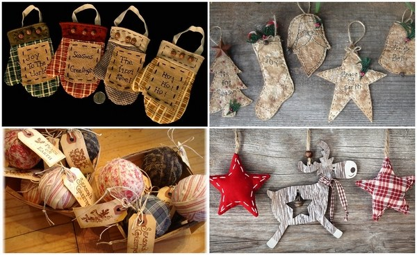 Primitive Christmas tree ornaments and decoration in primitive style Primitive Christmas tree ornaments and decoration in primitive style