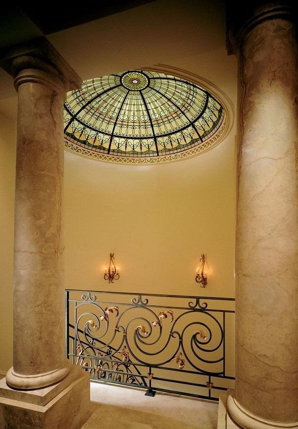 Stained Glass Ceiling Designs Exceptional Sophistication And Charm | Ceiling Design For Stairs Area | Stairwell | Accent Lighting | Cake Shop | Cafeteria | L Shape