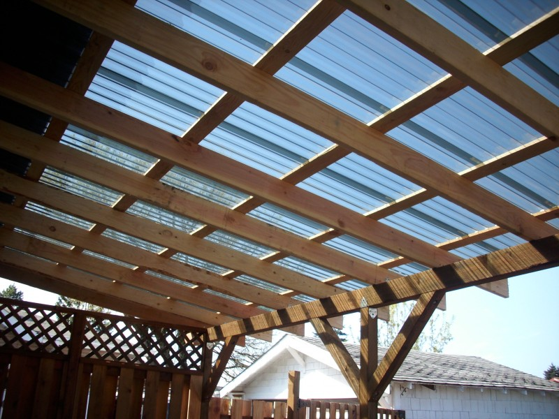 Cedar Deck W Polycarbonate Patio Cover And Recycled Gates