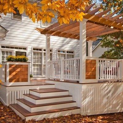 Deck Ideas Designs Pictures Photogallery Decks Com | Building Half Round Wood Steps | Curved | Precast Concrete Steps | Outdoor | Concrete Slab | Risers