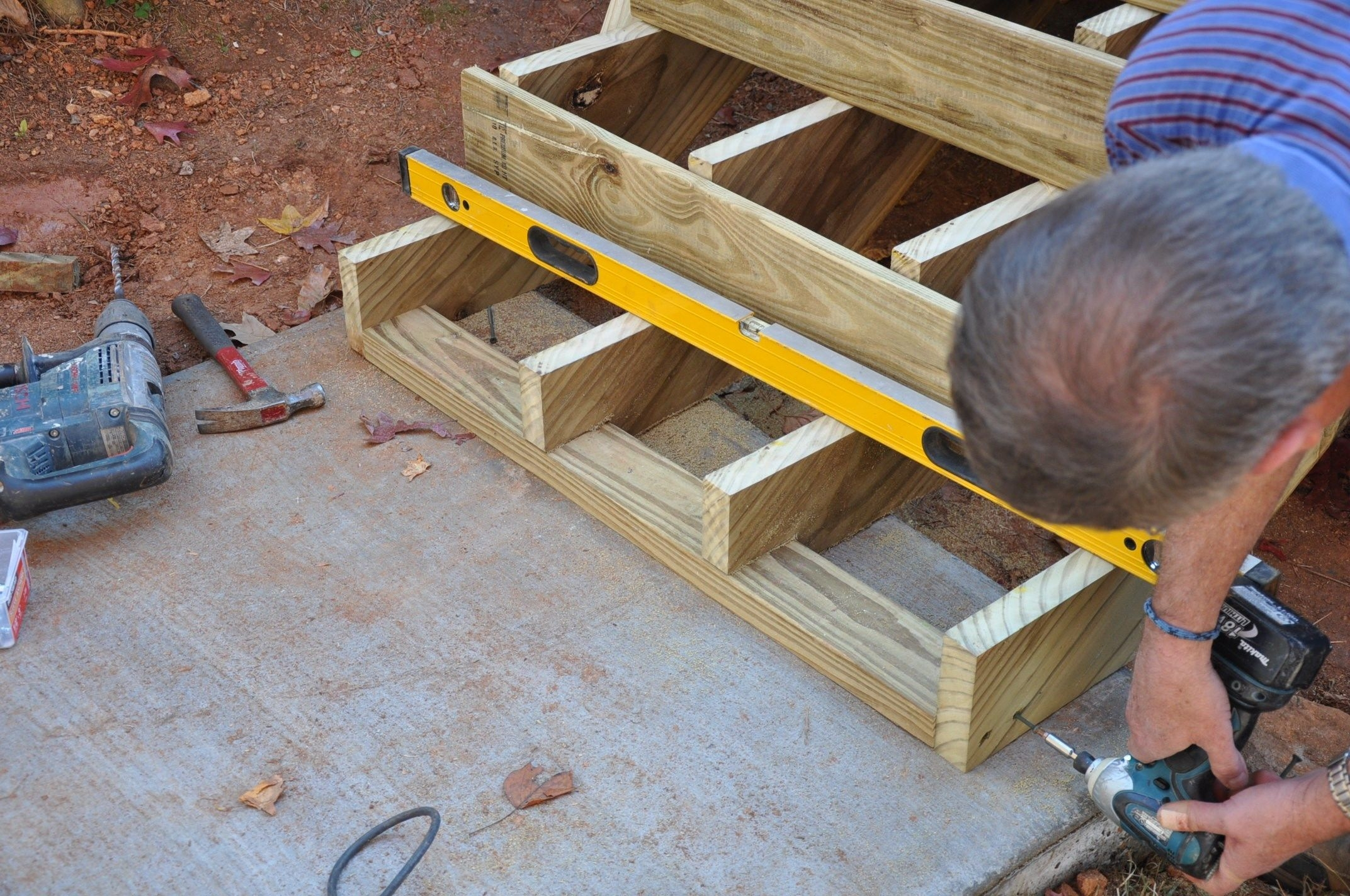 How To Anchor Deck Stairs To Concrete Decks Com | Pressure Treated Stair Treads | Wide | 3 Ft | Picture Frame | Glue Block | Deck
