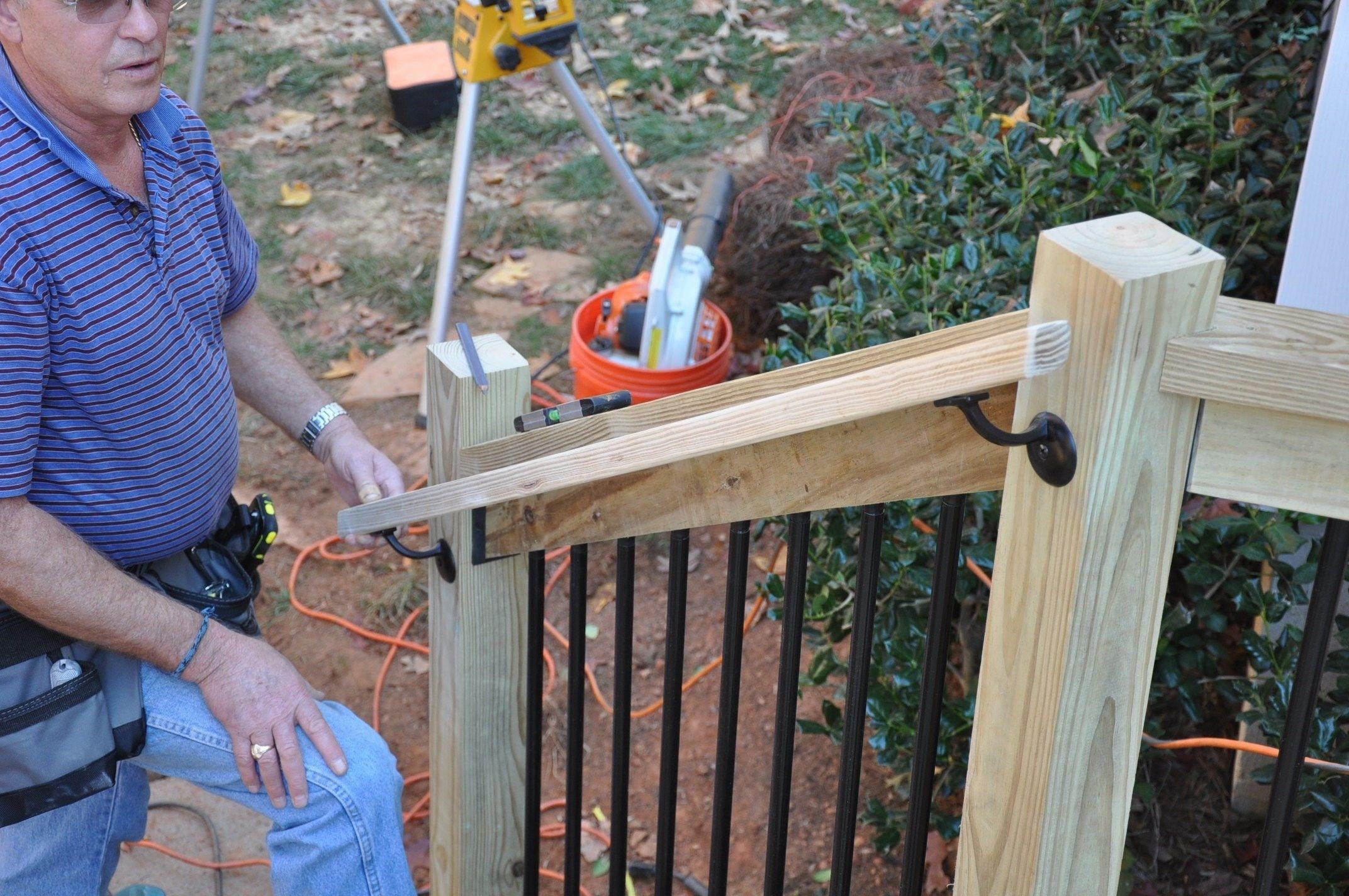 How To Install Deck Stair Railings Decks Com | Pressure Treated Stair Handrail | Sturdy | Step | Deck Rail | Long Deck | Treated Lumber