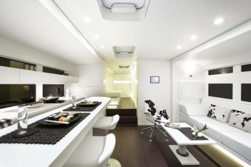 15 Cool Mobile Homes   Trailers Interiors   Decoholic modern white mobile home trailer interior design
