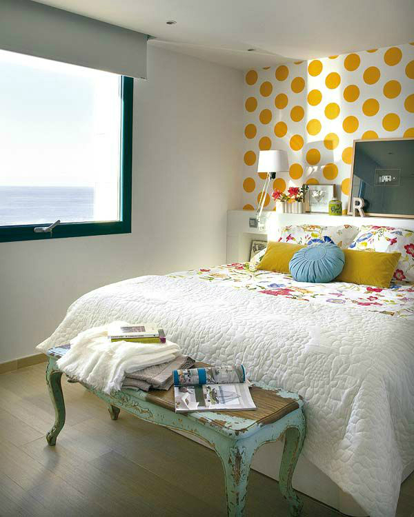 Awesome Bedroom Accent Wall Color and Decorating Ideas   Decoholic Yellow dots bedroom accent wall