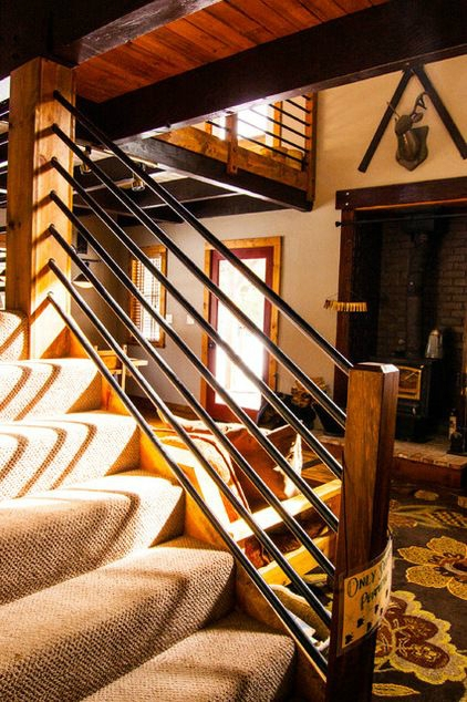 47 Stair Railing Ideas Interior Stair Rails Decoholic   Black Iron Pipe Stair Railing   Staircase Railing   Industrial Style   Deck   Steel Pipe   Reclaimed Wood