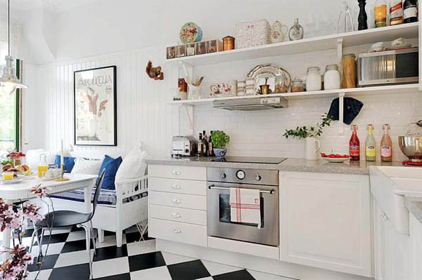 White Decorating Ideas  Modern Kitchen Decor in Timeless Style white kitchen cabinets and shelves