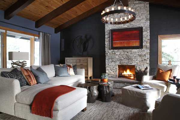 Country Home Decorating Ideas Living Room   Home Design Ideas Stone Fireplace And Wood Ceiling Design In Alpine Chalet  Beautiful Country  Home Decorating Ideas