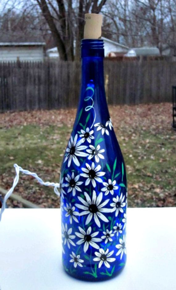 Decorative Bottles Blue Wine Bottle Light Table Light