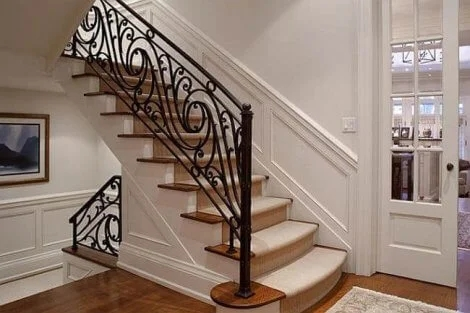 Change Your Stairs With Original Wrought Iron Stair Railings   Iron Stair Railing Indoor   Interior Wrought   Wood   Cast Iron Balusters   Rod Iron   Railing Kits
