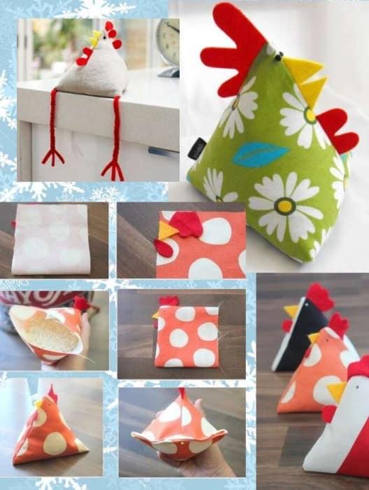 逐步指导:雄鸡形式的三角形枕头