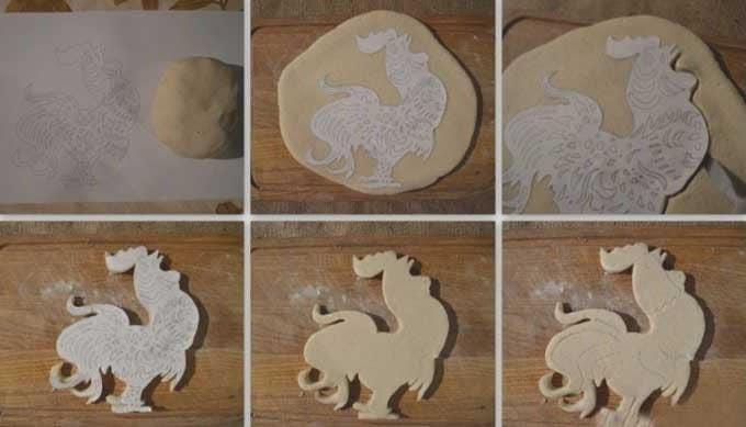 在新的一年装饰中从面团中制作公鸡的简单方法