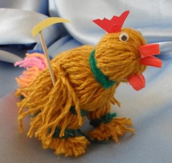糸のシンプルなオンドリ - 子供の手作り