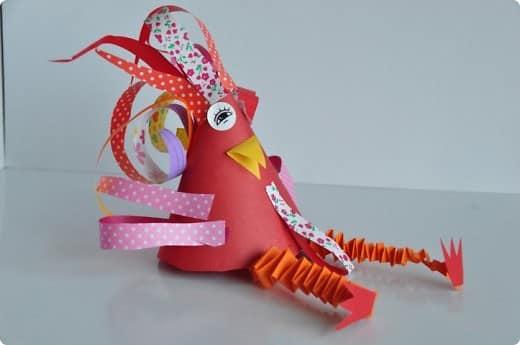 滑稽的纸雄鸡 - 儿童工艺品