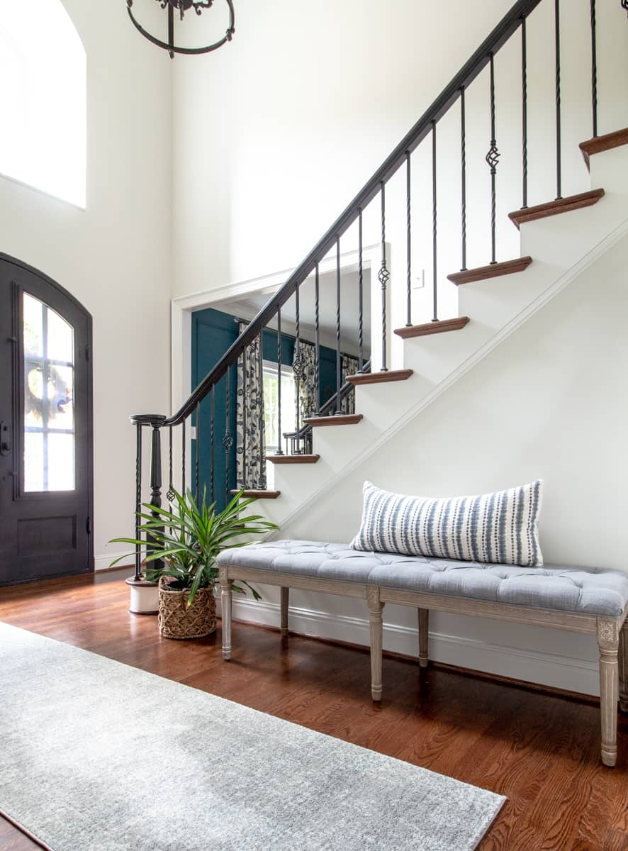 Paint Handrail Stair Risers And Trim Perfectly Every Time | Painted Risers On Stairs | Flair | Painting | Stained | Basement | Hardwood