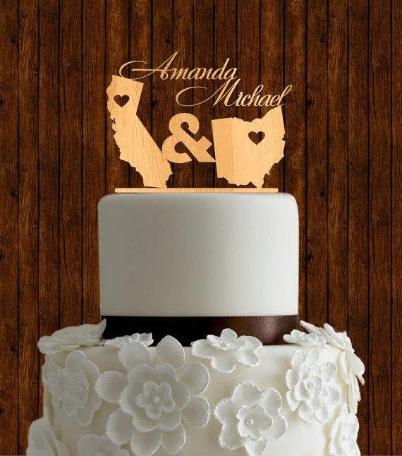15 Meaningful Wedding Cake Toppers For Your Wedding Two States Wedding Cake Topper
