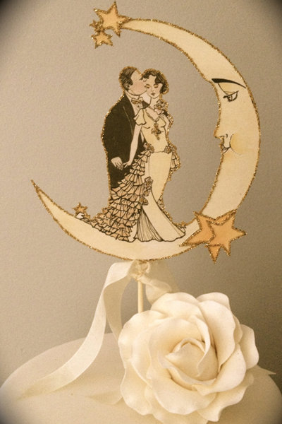 15 Meaningful Wedding Cake Toppers For Your Wedding Vintage Moon Wedding Cake Topper