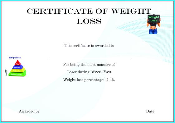 Weight Loss Winner Certificate