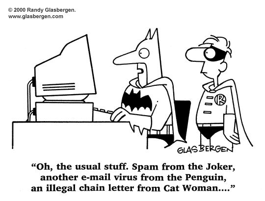 superheroes tech humor - Tech Humor: Even Superheroes are not safe from viruses and spams